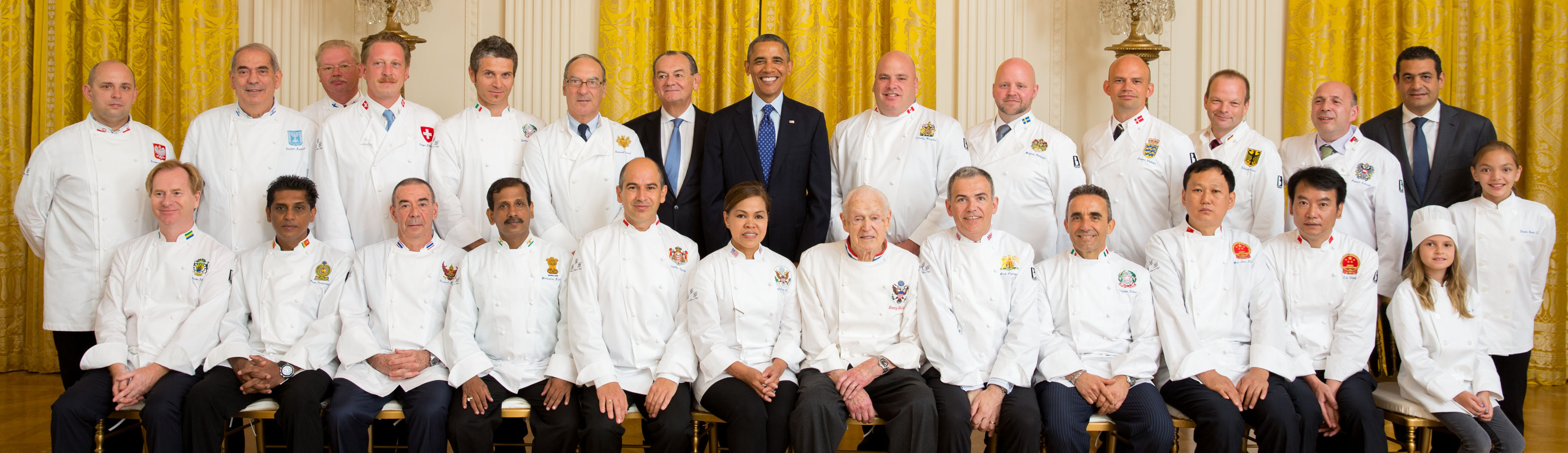 "President Barack Obama greets Le Club des Chefs des Chefs in the East Room of the White House, Aug. 1, 2013. Attendees: Cristeta ""Cris"" Pasia Comerford, Chef to President Barack Obama of the United States of America; Christian Garcia, Club President, Chef to His Highness Prince Albert II of Monaco; Mark Flanagan, Club Vice President, Chef to Her Majesty Queen Elizabeth II of Great Britain; Machindra Kasture, Chef to President Pranab Kumar Mukherjee of India; Jesper Vollmer, Chef to Her Majesty the Queen Margrethe II of Denmark; Timothy Wasylko, Chef to Prime Minister Stephen Harper of Canada; Bernard Vaussion, Chef to President Franois Hollande of France; Ulrich Kerz, Chef to Federal Chancellor Angela Merkel of Germany; Gregor Zimmermann, Chef in charge of the official receptions of Switzerland; Catzola Pietro and Santangelo Giovanni, Chefs to President Giorgio Napolitano and the Quirinale Palace (Italy); Anton Brinsley Rohan Fernandopulle, Chef in charge of official receptions of Sri Lanka; The Great Hall of the People in Beijing - Represented by two of its chefs (China); Shalom Kadosh, Chef in charge of the Official Receptions of Israel; Norbert Kostner, Chef in charge of official receptions of His Majesty King Bhumibol Adulyadej of Thailand; Isto Tahvanainen, Chef to President Sauli Niinistš of the Republic of Finland; Grzegorz Rzeszotarski, Chef to President Bronisaw Komorowski of Republic of Poland; Rupert Schnait, Chef in charge of the official receptions of Austria; Charles Ferrier Richardson, Chef to President Ali Bongo Ondimba of Gabon. (Official White House Photo by Chuck Kennedy) This photograph is provided by THE WHITE HOUSE as a courtesy and may be printed by the subject(s) in the photograph for personal use only. The photograph may not be manipulated in any way and may not otherwise be reproduced, disseminated or broadcast, without the written permission of the White House Photo Office. This photograph may not be used in any commercial or political materials, advertisements, emails, products, promotions that in any way suggests approval or endorsement of the President, the First Family, or the White House."