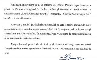 Lettre reçue Pape François
